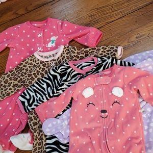 5 Baby girl fleece sleepers Bundle & save